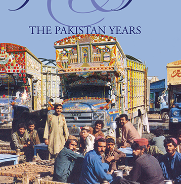 Geckos & Guns: The Pakistan Years by Sharon Bazant. This front cover image shows a group of truck drivers with their beautifully ornamented trucks silhouetted against a bright blue sky.